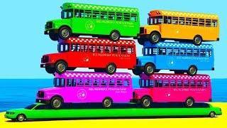 Мультики про машинки Цветные Грузовики и Автобусы Учим Цвета и Цифры Мультфильмы для детей