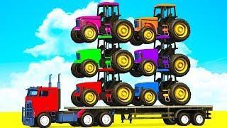 Мультики про машинки Цветные Машинки и Трактора Мультфильмы для детей про Синий Трактор