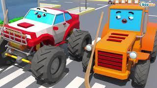 Детские грузовики и тракторы-играть в гольф | Детские грузовики-Мультфильмы на испанском языке