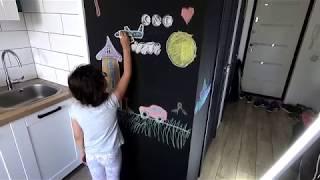 Как сделать грифельную стену на которой можно рисовать мелом? Аккуратный стык краски.