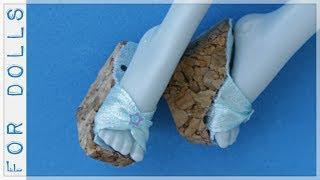 КАК СДЕЛАТЬ БОСОНОЖКИ ДЛЯ КУКЛЫ ♡ Как сделать обувь для кукол ♡ FOR DOLLS