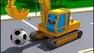 Экскаватор играет с Мячиком - Городок Машинок - Мультфильмы для детей