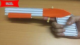 Как сделать бумажный пистолет, который снимает резиновую ленту - версия 2