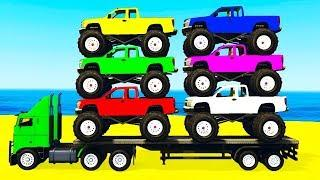 Мультики про машинки Цветные Грузовики и Джипы для малышей Мультфильмы для детей