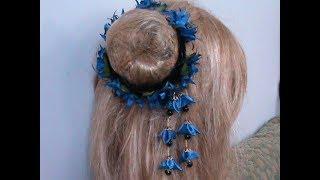D.I.Y./МК/ Как сделать резинку на пучок волос сидаре с васильками