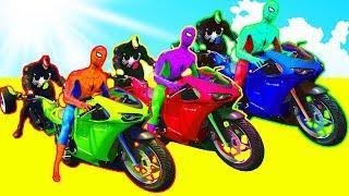 Мультфильмы про цветные Трициклы и Мотоциклы для Детей Учим цвета вместе с Супергероями Машинки