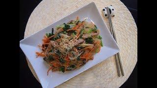 Корейская кухня: Фунчоза с овощами, грибами и мясом или джапче, чапче (잡채)