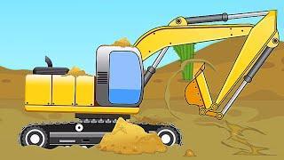 Мультики про машинки - Экскаватор и Грузовик в Песке Строительная Техника Новые Мультфильмы