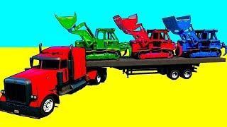 Мультики про машинки Цветные Грузовики и Бульдозеры Учим Цвета и Цифры Мультфильмы для детей
