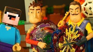 Бейблэйд Бёрст и ПРИВЕТ СОСЕД - Лего НУБик Майнкрафт ФНАФ Мультики - LEGO Minecraft FNAF Мультфильмы