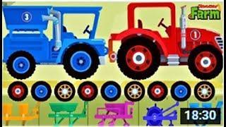 Мультики про машинки - Развивающие Мультфильмы для детей про синий трактор и комбайн