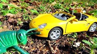 Игрушечные машинки и насекомые в лесу. Видео для детей
