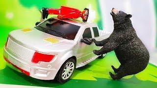 Мультик про машинки. Опасный медведь в лесу - Петрович спасает детей. Мультфильмы