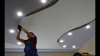 КАК сделать рисунок на потолке ! Потолок из гипсокартона своими руками видео инструкция !
