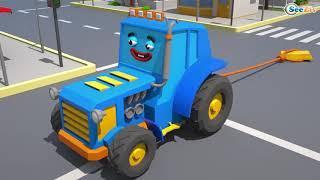 Мультики про машинки   Трактор играет в мячик  Мультфильмы для детей Городок   Машинки и Грузовички