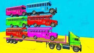 Мультики про Машинки Цветные Автобусы - Учим Цвета и Цифры Мультфильмы для детей