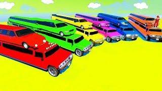 Мультики про машинки Цветные Лимузины и Джипы для малышей Учим Цвета Мультфильмы для детей