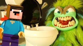 Toilet Trouble ЧЕЛЛЕНДЖ и ФЕДЬКА - Лего НУБик Майнкрафт Мультики - LEGO Minecraft Мультфильмы