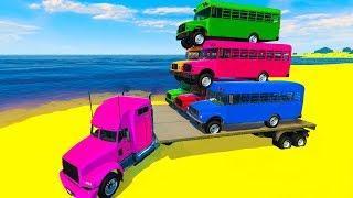 Мультики про машинки для детей Автобусы и Цветные Машинки Мультфильмы для детей