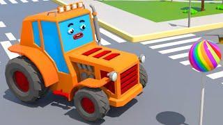 Трактор и Экскаватор нашли Большую Конфету - Городок Машинок - Мультфильмы для детей