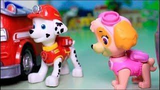 Мультфильмы для детей с игрушками щенячий патруль - Котенок и батут. Как щенки котика спасали