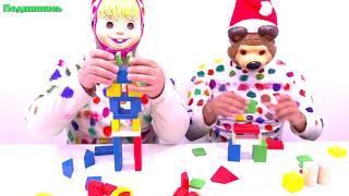Учим Цвета и Цифры для Детей Мультфильмы для детей Мишка и Маша Строим из кубиков развивающее видео