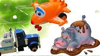 КАК МАШИНКА и САМОЛЕТИК СПАСАЛИ БЕГЕМОТА. Мультфильмы про машинки и животных для детей