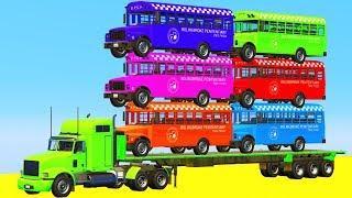 Мультики про Машинки Цветные Автобусы Автовоз - Учим Цвета и Цифры Мультфильмы для детей