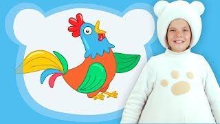 Три Медведя - ПЕТУШОК - песенки мультфильмы для детей малышей животные на ферме