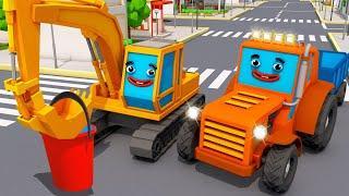 Мультики про Машинки - Экскаватор ПОЛ, Трактор ТОМ и ФЕРМА | 3D Мультфильмы для детей