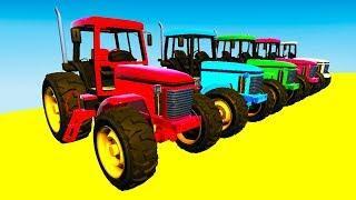 Мультики Про Цветные Машинки для детей Учим Цвета Грузовики и Трактора гонки Для Малышей