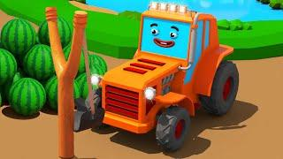 Мультики про Машинки - Трактор Играет с АРБУЗАМИ | Новый Сборник Мультфильмы для детей