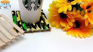 Как Сделать Простую Подставку для Кофе из Палочек для Мороженного