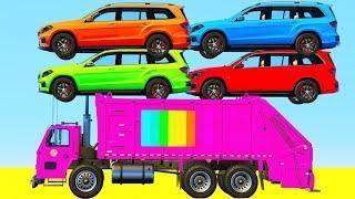 Мультики про цветные машинки Джипы Мусоровоз и Ветролеты  для малышей Мультфильмы для детей
