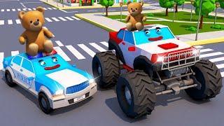 Мультики про машинки - Полицейская Машина и Монстр Трак МЕГА ГОНКА - НОВЫЕ Мультфильмы для детей
