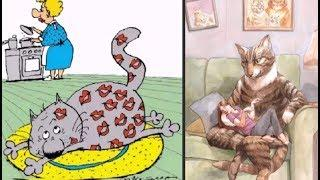 Про кошек и про котов.  Карикатуры смешные картинки юмор приколы.