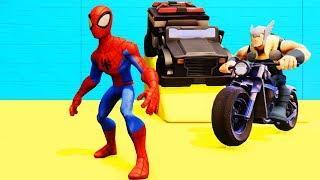 Мультики про Машинки и Человек Паук Цветные Машинки и Супергерои Мультфильмы для Детей