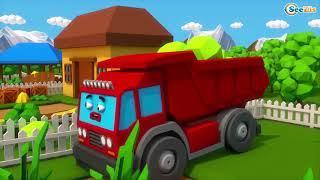 Детские грузовики-грузовики и строительные машины-мультфильмы для детей на испанском языке